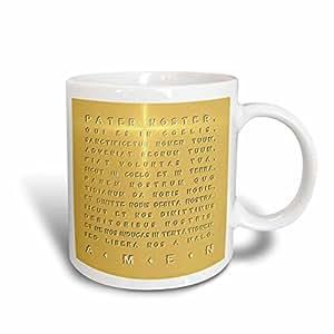 RUSS billington 设计–THE Lords prayer- 金效果拉丁文本与十字架 HIGHLIGHT–马克杯 白色 11 oz