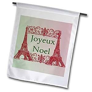 "PS 圣诞–joyeux 年"" noel eiffel towers 法国 Merry Christmas–旗帜 12 x 18 inch Garden Flag"