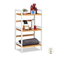 Relaxdays 浴室架,化妆品架,毛巾和餐具,浴室竹架,其他 尺寸,白色/自然 自然 80 x 45 x 31,5 cm 10026136_348