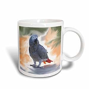 3dRose Birds - 非洲灰色鹦鹉 - 马克杯 蓝色/白色 11-oz Two-Tone Blue Mug mug_4030_6