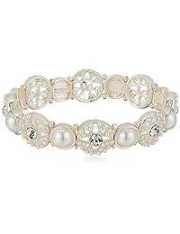 Napier 女士珍珠水晶弹力手链,白色