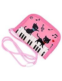 硬币包(附绳) 儿童用 在钢琴上跳舞的黑猫蜡(粉红)N5600400