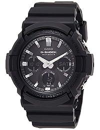 Casio 卡西歐 G-Shock 男士手表 樹脂/不銹鋼制成,具有自動LED燈和太陽能發電-耐沖擊,黑色