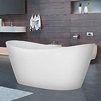 Empava 亚克力独立浴缸 67 英寸现代独立浸泡浴盆,带溢流排水白色