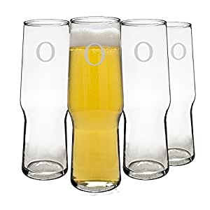 Cathy's Concepts Personalized Craft Beer Glasses, Monogrammed Letter O, Set of 4