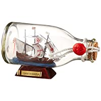 Handcrafted Nautical Decor Santa Maria Ship in a Glass Bottle, 5""