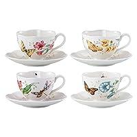 Lenox 蝴蝶貓瓷器單拱,蜻蜓,老虎搖擺,冰凍杯和碟子,4件裝