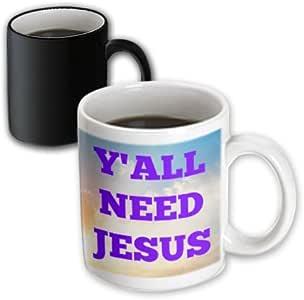 xander 鼓舞人心的语录–yall NEED JESUS purples 字母, SKY 背景–马克杯 黑色/白色 11 oz