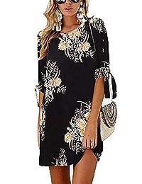 poptem 女式夏季连衣裙雪纺印花宽松迷你沙滩裙休闲直筒连衣裙束腰背心裙