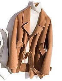 茜欧莉 100% 羊毛双面呢大衣女士 秋冬新款休闲宽松腰带毛呢大衣外套 S1731
