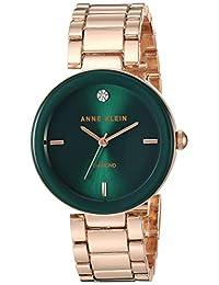 Anne Klein AK / 1362GNRG 女士石英金屬合金正裝手表,玫瑰金/綠色,均碼