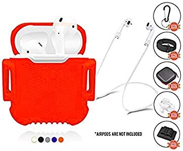 CoolKo *新保护防水抗震硅胶白色硬质手机壳 iPhone AirPods 套装 [附赠:1 个磁性气囊带,1 套耳钩和小盒] With Non-Magnetic String