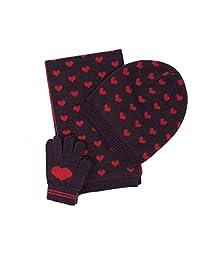 BCBG 女童 3 件套慵懒针织无檐小便帽,围巾和手套