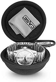 旅行手表外壳 – 单表盒带拉链,适宜手表存储。带衬垫的圆形手表外壳旅行。适合所有腕表,50毫米的智能手表
