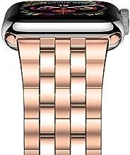 iiteeology 兼容苹果手表表带系列 5/4 系列 3/2/1,*版不锈钢表链 女式男式 iWatch 表带 42mm/44mm Series 5/4/3 New Rose Gold - 5 Rows