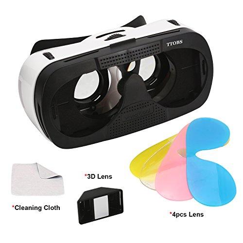 3D VRメガネケース、TTOBS 4.7〜6.0インチのスマートフォンiPhone 6 / 6S、マルチカラーレンズ交換のための3Dレンズ付き3D VRゲームヘッドセットメガネ3Dデジタルメガネ