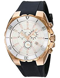 "Oceanaut 男式""Seville""石英不锈钢和硅胶休闲手表,颜色:黑色(型号:OC5123B)"