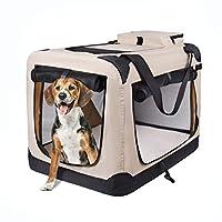 motor-mh 便携式 3 门折叠软狗箱,室内和室外宠物家适用于狗、猫、兔子 24 英寸长 x 18 英寸宽 x 21 英寸高,米色