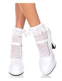 音乐 legs 不透明脚踝带褶皱蕾丝上衣