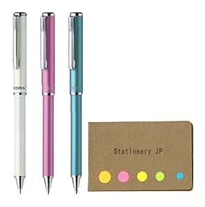 Zebra SL-F1 迷你伸缩圆珠笔,0.7mm,Sticky Notes 超值套装 0.7mm White/Pink/Light Blue