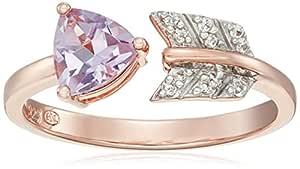 18k 玫瑰金纯银粉色紫水晶和白色蓝宝石箭头开环,7 号