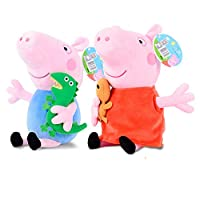 Peppa Pig 小猪佩奇 <啥是佩奇>小猪佩奇乔治+佩奇毛绒公仔玩具 高30cm(亚马逊自营商品, 由供应商配送)