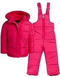 DKNY 女婴 2 件套防雪服加厚羽绒服和雪围兜裤(婴儿/幼儿)