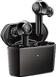 真正的无线耳机带 4 麦克风,MEBUYZ IPX8 防水耳机无线充电盒 CVC 8.0 降噪 APTX TWS 立体声,60H 播放时间触摸控制蓝牙 5.0 耳机适用于运动