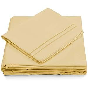 Cosy House 系列床单 - 1500 系列 - 超柔软奢华*店床单套装 - 超柔软*店床上用品 - 炫酷无皱 淡黄色 全部 S-1500-F-PASTELYELLOW-CA
