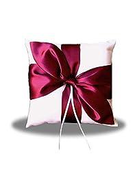 SACASUSA 优雅缎面蝴蝶结新娘婚礼戒指枕头熊 红色+白色 Polyester PL-08
