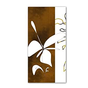 Art Wall Jan Weiss Espresso Floral I Unwrapped Flat Canvas Art, 28 by 16-Inch
