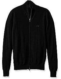 Armani Jeans 男士全拉链半高领 T 恤,黑色,L 码