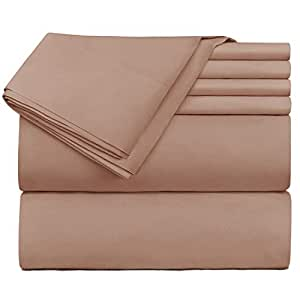 Hearth & Harbor 床上用品 6 件套 - 超深口袋床笠,适合 45.72-60.96 厘米厚的床垫。 灰褐色 King vend_harbor-216PC-K-Taupe