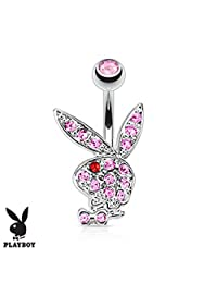 Multi Colored Gems on Playboy Bunny 316L Surgical Steel Navel Ring (Sold by Piece) 14 GA, Length: 10mm, Ball: (5x8) mm, Pink/Red