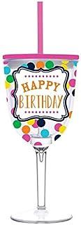 Happy Birthday 女士酒杯,带吸管和盖子,塑料双层绝缘杯,13 盎司