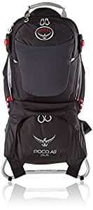 Osprey 中性 珀蔻白金版AG Poco AG Plus 26 黑色 均码 婴儿背架 城市户外徒步婴儿儿童背架反重力背负系统背板可调节带儿童安全带耐磨舒适带遮阳罩带娃出行必备 三年质保终身维修(两种LOGO随机发)