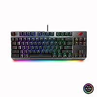 ASUS ROG Strix Scope TKL 有线机械 RGB 游戏键盘,适用于 FPS 游戏,Cherry MX 棕色开关,铝制框架,Aura Sync 照明