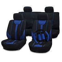 cciyu 座椅套通用汽车座椅靠垫/靠垫套/方向盘套/肩垫 - * 透气汽车座椅套可水洗汽车罩适用于大多数汽车(黑色/灰色) 110795-5210-1552453722