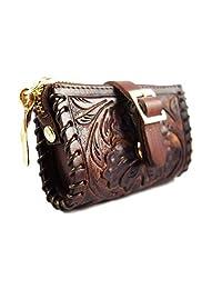 手工制作真皮零钱包,棕色,复古礼品袋,可换货