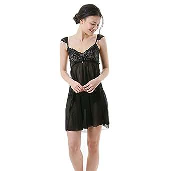 (LINGE-BEAUTE)LINGE-BEAUTE 蕾丝/薄纱&褶边绑带防滑 标准短裤套装 CL171102 黑色 均码