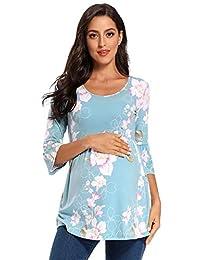 Love2Mi 女式条纹孕妇上衣七分袖衬衫休闲超柔软孕妇衬衫 Floral70 Medium