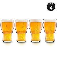 Nucleated Beer Glass – Ipa 啤酒杯,适用于啤酒,更好的头部保持,芳香和味 – 453.59 毫升工艺啤酒杯适用于啤酒 Bliss – 终*脱玻璃(4 件装)