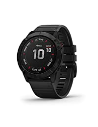 Garmin fēnix 6X Pro, Ultimate Multisport GPS Watch, Features Mapping, Music, Grade-Adjusted Pace Monitoring and Pulse Ox Sensors, Black with Black Band