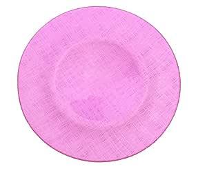 玻璃充电器 33.02 cm 交叉缝纫图案餐盘 - 4 件套 桃红色 GP-0236-pink