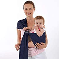 Accmor Baby 包裹式背带式吊带,透气婴儿背带网布面料,婴儿、新生儿、儿童和学步儿童,非常适合夏季、游泳、游泳池、海滩 - 均码适合所有人 深蓝色