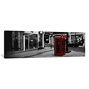 iCanvasART ICA1193-1PC6 Phone Booth, London, England, United Kingdom Color Pop Canvas Print by Panoramic Images, 1.5 by 36 by 12-Inch