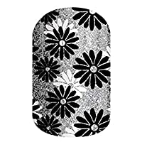 Flapper – Jamberry *贴 – 全套 – 黑色和白色银色雏菊图案 Full Sheet - 2 manicures / 2 pedicures