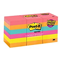 Post-it Notes, 1.5 in x 2 in, Cape Town Collection, 18 Pads/Pack, 100 Sheets/Pad (653-18AU)
