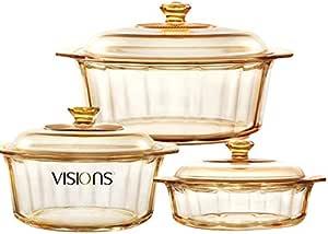美国康宁VISIONS  晶钻锅系列 4.1L+2.2L+1.5L 三件套 送四面锁扣保鲜盒2个