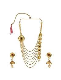 Efulgenz 印度宝莱坞传统多层 14 K 镀金水晶 Kundan 婚礼寺庙项链耳环珠宝套装 多种颜色